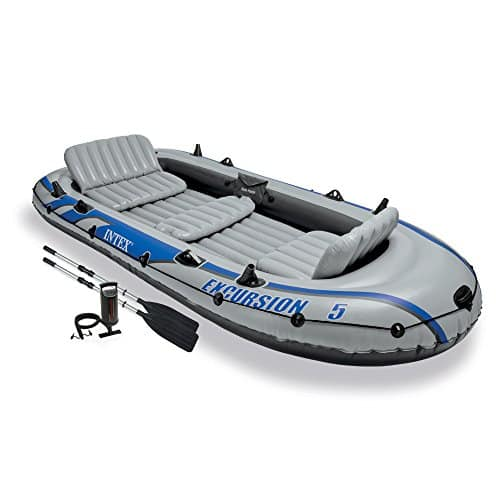 Intex Excursion 5, 5-Person Inflatable Bug Out Boat with Aluminum Oars and High Output Air Pump (Latest Model)