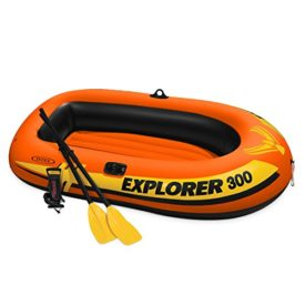 Intex Explorer 300, 3-Person Inflatable Bug Out Boat with Oars and High Output Air Pump