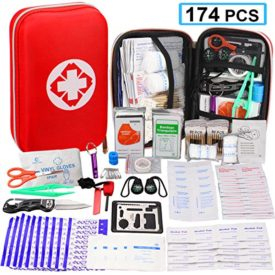 174 Pcs First Aid Kit Survival Kit Emergency Survival Kit Medical Supplies Trauma Bag Safety First Aid Kit for Home, Office, School, Car, Boat, Travel, Camping
