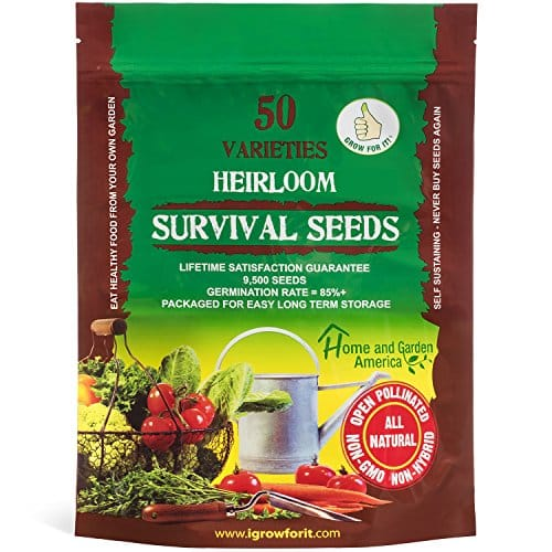 Heirloom Vegetable Seeds Non GMO Survival Seed Kit – Part of Our Legacy and Heritage – 50 Varieties 100% Naturally Grown- Best For Gardeners Who Raise Their Own Healthy Food